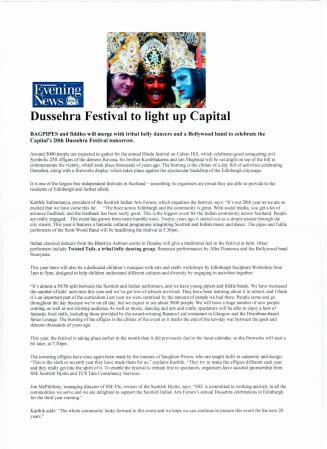 Edinburgh Evening News 2014: Dusherra