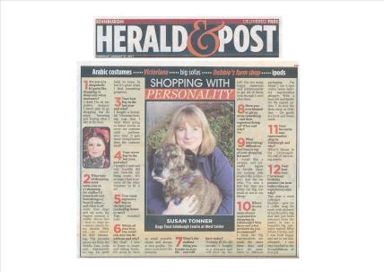 Newspaper column interviewing Susan on shopping!