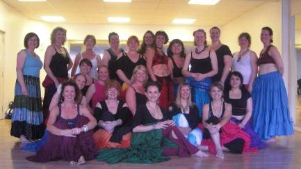 Us at Divine Chaos Workshop - the experts on tribal skirt dancing!